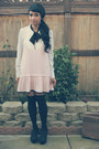 Light-pink-black-bow-miss-selfridge-dress-black-diy-socks-white-maxx-blouse