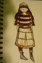 black victorian boots boots - eggshell hat - brick red stripes knit sweater