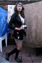 black Hot Topic glasses - gold blouse - brown Charlotte Russe skirt - black stoc