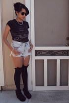 black Brand from Target t-shirt - light blue Bullhead Denim shorts