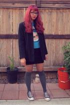 black low tops Converse shoes - black wool old coat Old Navy coat