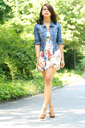 blue denim BDG jacket - beige Prada shoes - white floral Zara dress