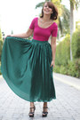 Black-ysl-shoes-green-american-apparel-skirt-magenta-american-apparel-top