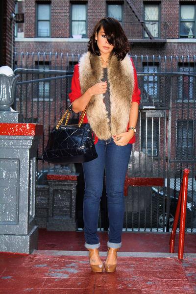 red vintage blazer - brown H&M scarf - beige Pour La Victoire shoes - blue Marc