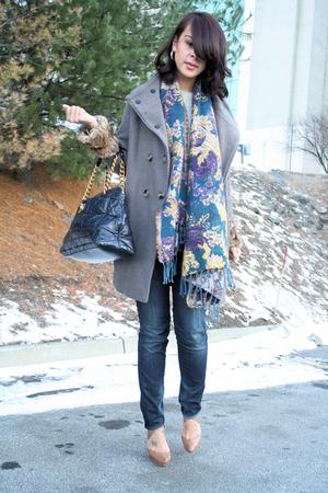 silver Zara coat - blue Zara scarf - beige Pour La Victoire shoes - blue Marc Ja