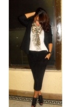 H&M blazer - Express pants - scarf - Aldo shoes