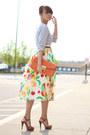 Heather-gray-madewell-sweater-orange-vintage-skirt-brown-michael-kors-sandal