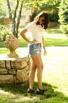 blue Levis shorts - white American Apparel shirt - black all black shoes