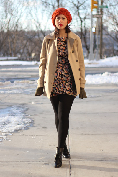 black ankle See by Chloe boots - black floral Topshop dress - camel Gap coat