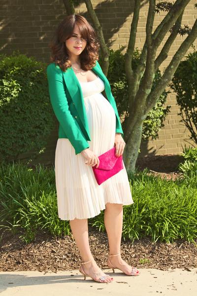 green Zara blazer - white Topshop dress - hot pink Jcrew bag