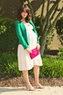 White-topshop-dress-green-zara-blazer-hot-pink-jcrew-bag