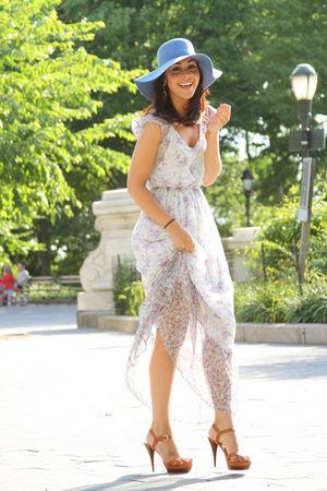 blue American Apparel hat - brown Michael Kors shoes - white floral Zara dress