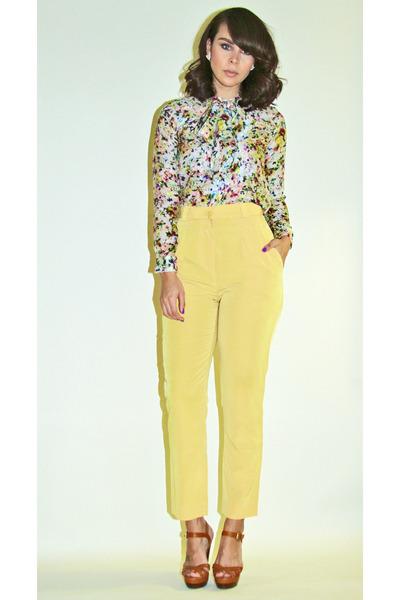 ivory floral Zara shirt - light yellow American Apparel pants
