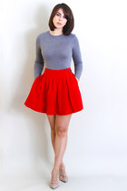 red skater Zara skirt - heather gray JCrew top - beige rock stud Valentino pumps
