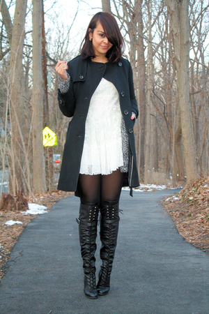 white Topshop dress - black bronx boots