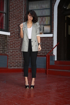 silver H&M blazer - black Zara pants - black Aldo shoes