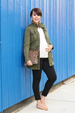 olive green Zara jacket - black Levis jeans - light brown Clare Vivier bag