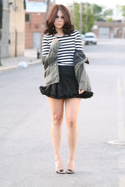 black Dolce Vita shoes - green H&M jacket - black American Apparel skirt