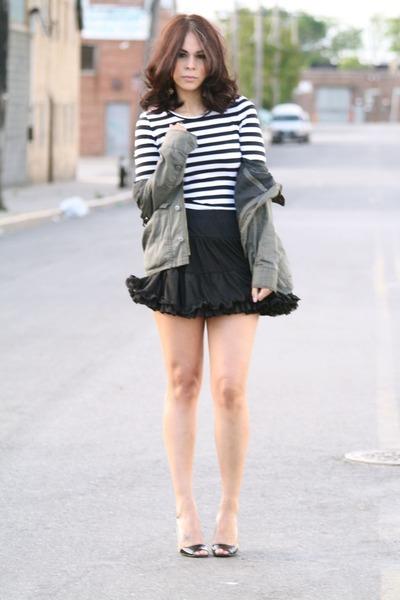 black Dolce Vita shoes - green H&M jacket - black American Apparel skirt