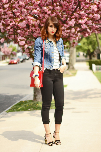 Blue Denim BDG Jackets, Black Skinny Topshop Jeans, Red DKNY ...