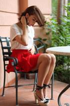 red Zara skirt - ivory Gap top - ivory espadrilles Pura Lopez heels