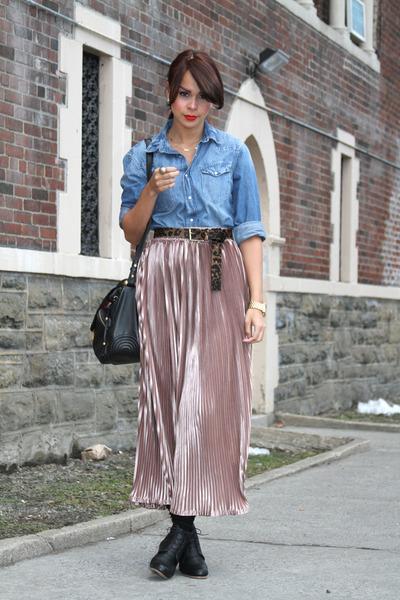 black Rachel Comey boots - blue asos shirt - light pink American Apparel skirt -