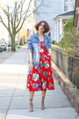 Red-floral-print-vintage-dress-blue-denim-zara-jacket