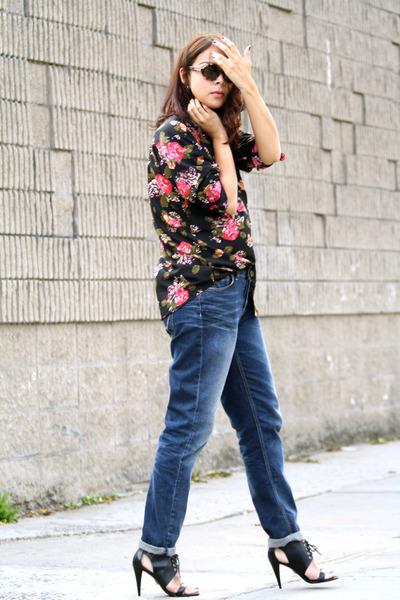 black Pour La Victoire shoes - blue Topshop jeans - black H&M shirt