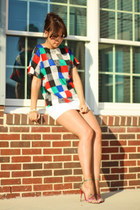 blue vintage blouse - white American Apparel skirt - red B Brian Atwood sandals