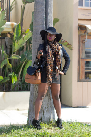 floppy hat hat - lace-up booties boots - animal print scarf - skirt