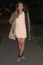 faux fur Zara jacket - whitneyeve dress - feather diva earrings