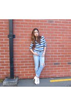 denim justjeans jeans - stripes H&M shirt - mesh Charles & Keith heels