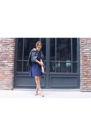 pleather Nasty Gal jacket - chiffon H&M dress - suede Jeffrey Campbell heels