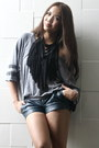 Black-diy-necklace-forest-green-mphosis-shorts-heather-gray-forever-21-top