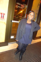 dark gray cashmere Jcpenny cardigan - black Wet Seal boots - navy Jcpenny dress