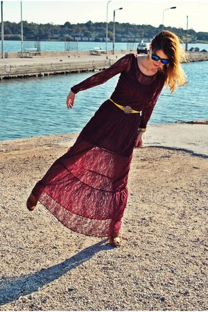 lace Bershka dress - asos sunglasses - vintage belt