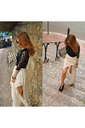 Zara skirt - pull&bear bag - Zara wedges - Zara blouse