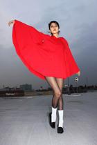 red American Apparel coat - black Burberry shoes - black Max Mara tights