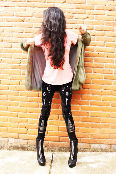 black Bebe boots - black Mango leggings - green Zara jacket