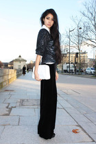 black Velvet pants - blue DKNY jacket - white longchamp accessories