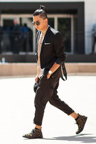 black Yohji Yamamoto pants - black axel arigato sneakers