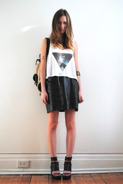 backpack material girl bag - crop top - leather vintage skirt