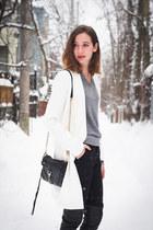 white Choies coat - heather gray Matinique sweater - black Rebecca Minkoff bag