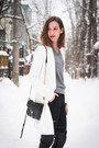 White-choies-coat-heather-gray-matinique-sweater-black-rebecca-minkoff-bag