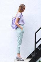 periwinkle kånken Fjäll Räven bag - aquamarine linen American Apparel pants
