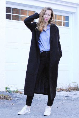 black Forever 21 coat - gray Forever 21 jeans - light purple Forever 21 shirt