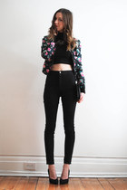 black crop twik top - black easy jeans American Apparel jeans