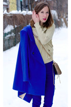 blue oversized OASAP coat - blue easy American Apparel jeans