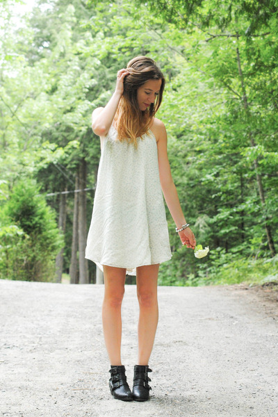 black Call it Spring boots - ivory quicksilver dress