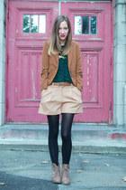 tan Call it Spring boots - tawny Zara blazer - beige joe fresh style shorts